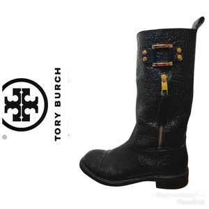 Tory Burch Stowe Moto Black Pebbled Leather Boots